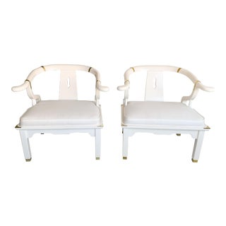 Vintage Century James Mont Style Ming White Chairs - a Pair For Sale
