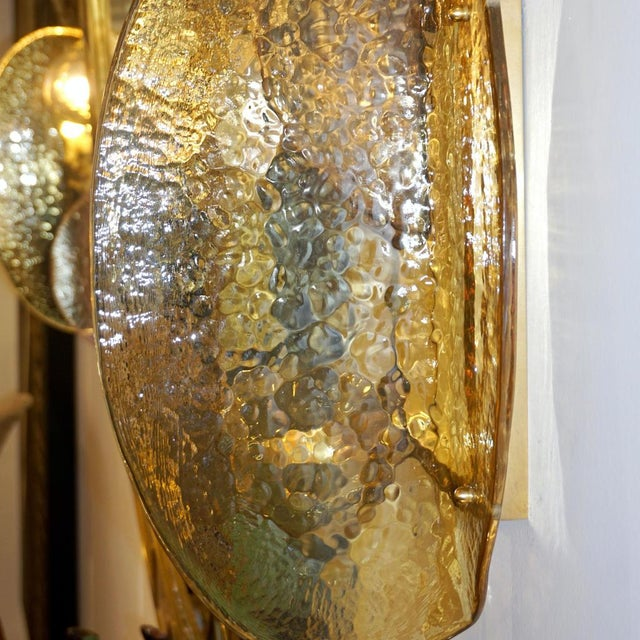 Contemporary Contemporary Italian Pink and Amber Murano Glass Gold Brass Sconces - a Pair For Sale - Image 3 of 9