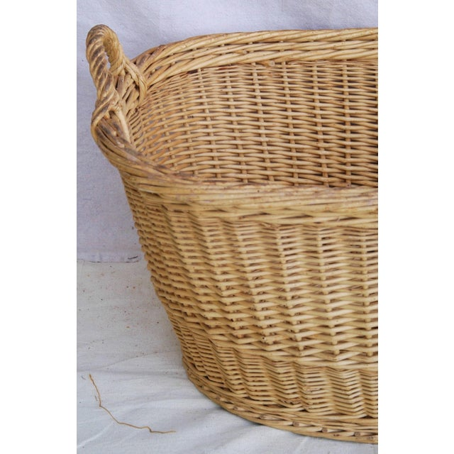 Vintage French Oval Wicker Market Basket - Image 5 of 10