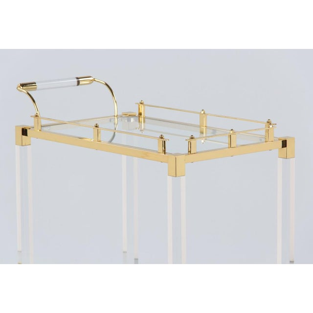 1970s 1970s Spanish Lucite and Brass Bar Cart For Sale - Image 5 of 11
