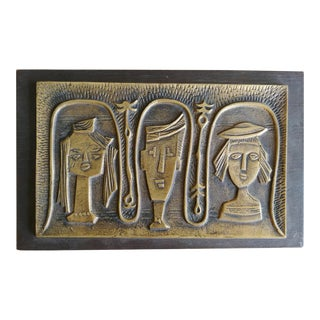 Modernist Brass Bass-Relief Wall Sculpture For Sale