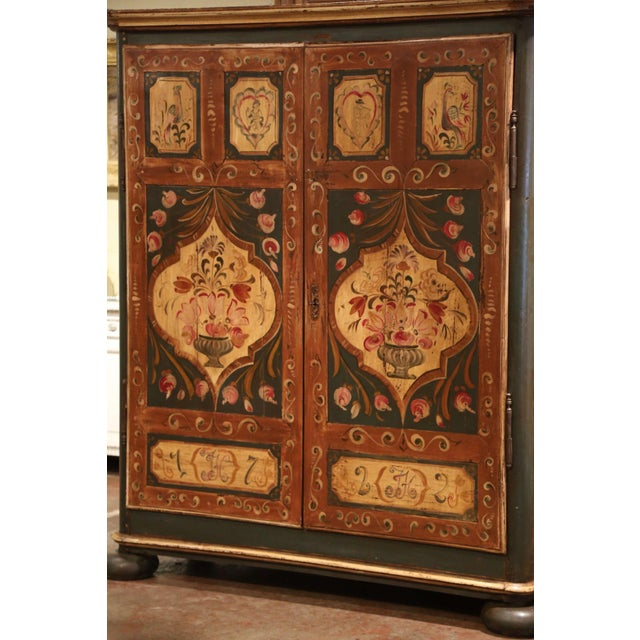 French Early 19th Century French Pine Two-Door Painted Armoire From Alsace-Lorraine For Sale - Image 3 of 13