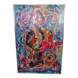 Framed Abstract Expressionist Painting by R. Monti For Sale