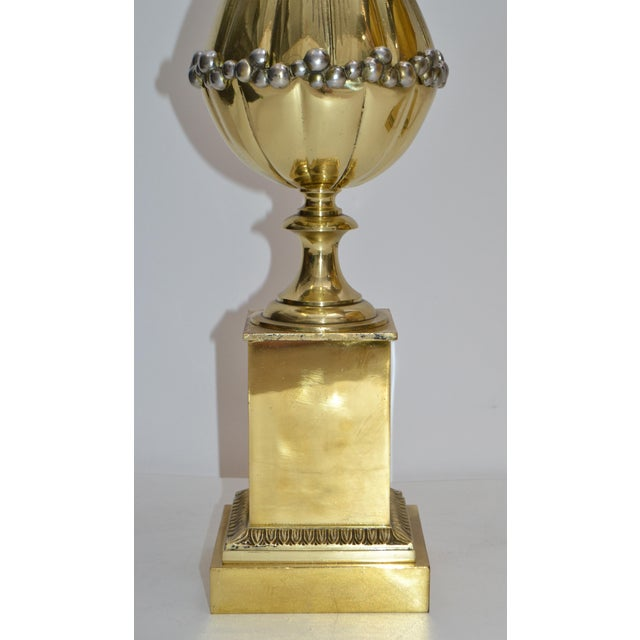 Maison Charles French Art Deco Lotus Bronze Table Lamp Black & Gold Shade - Pair For Sale In Miami - Image 6 of 13
