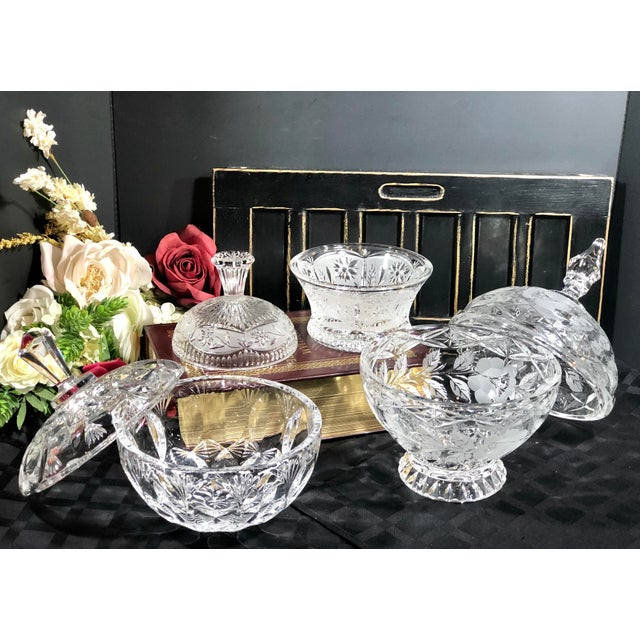 Victorian Vintage Crystal Dishes With Lids - Set of 3 For Sale - Image 3 of 12