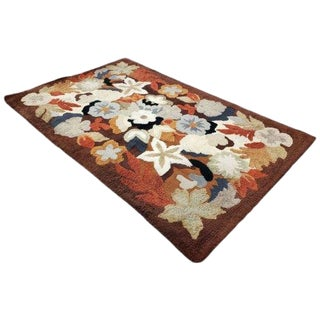 1960's Mid Century Modern Floral Motif Hand Knotted Wool Area Rug For Sale