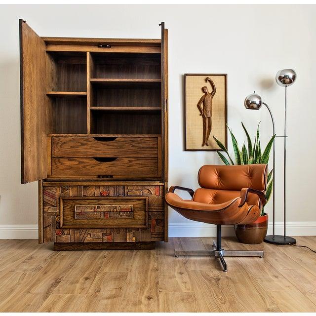 "Brutalist 1970s Lane ""Pueblo"" Brutalist Armoire Dresser For Sale - Image 3 of 6"