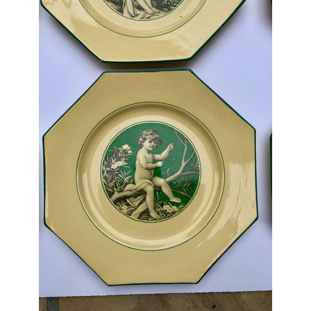 Ceramic French Sarreguemines Majolica Cupid Plates - Set of 8 For Sale - Image 7 of 13