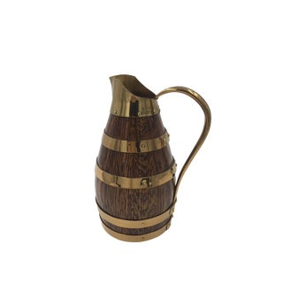 French Oak and Brass Wine Pitcher For Sale