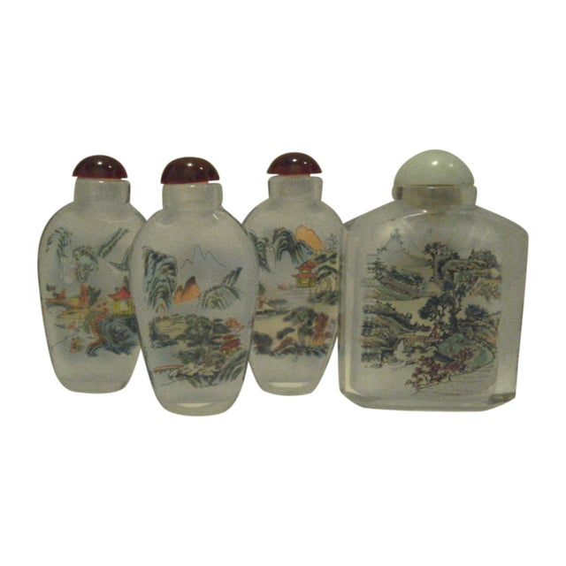 Peking Back Painted Glass Bottles - Set of 4 - Image 1 of 11