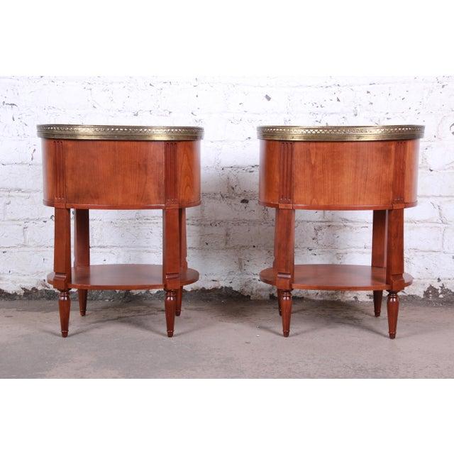 Baker Furniture French Regency Cherry and Brass Tambour Door Nightstands, Pair For Sale - Image 11 of 13