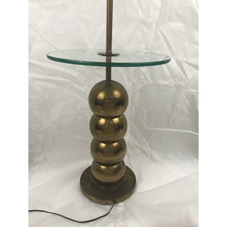 Mid-Century Stacked Brass Ball Floor Lamp Table Preview