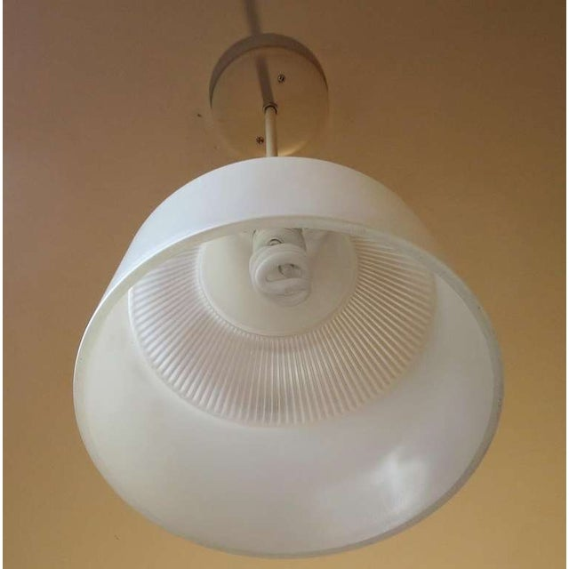 Italian Ribbed Glass Hanging Pendant Lamp For Sale - Image 4 of 5
