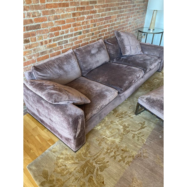 Minotti Purple Sofa and Ottoman For Sale - Image 9 of 10
