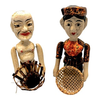 Vintage Indonesian Carved Wood Pull String Action Figurines - A Pair For Sale