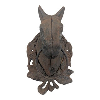1950's Vintage Cast Iron Horse Head Hitching Post For Sale