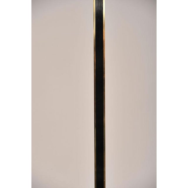Italian Tall Brass & Black Lacquer Torchiere Lamp For Sale - Image 4 of 6