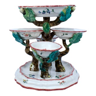 Antique French Faience Sweetmeat Stand Marked for Veuve Perrin For Sale
