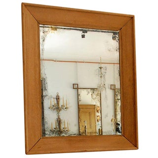Oversized French 1940s Limed Oak Mirror, Style of Jean-Michel Frank For Sale