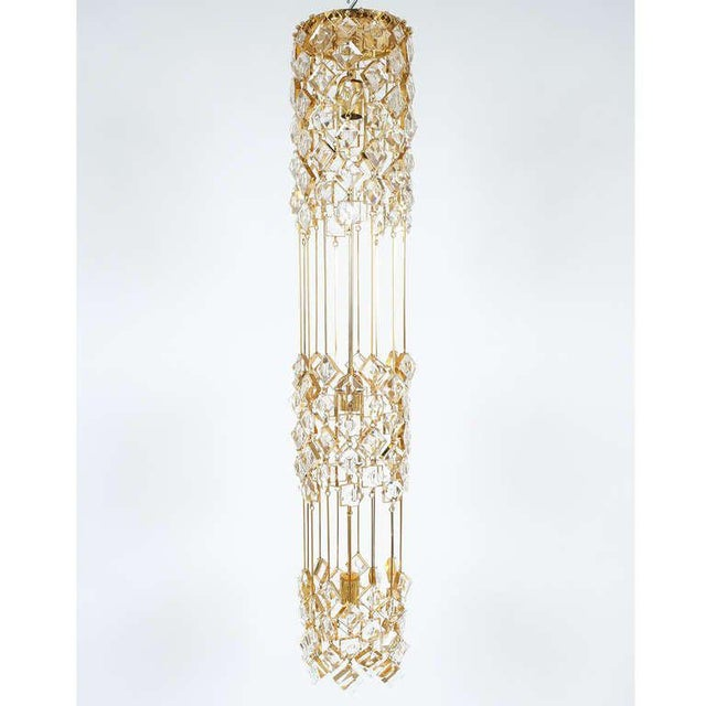 Golden Brass and Crystal Column Chandelier Lamp by Palwa, 1960 For Sale - Image 9 of 9