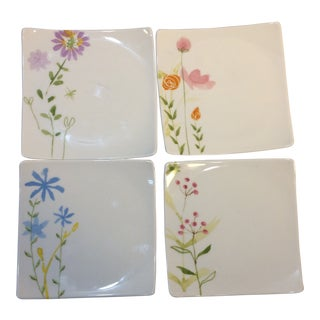 Hand Painted Sushi Plates - Set of 4 For Sale