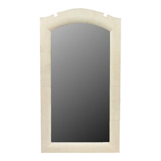 2 French Art Deco Style (Modern) Cream Colored Shagreen Vertical Wall Mirrors