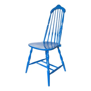 Spindle Back Blue Chair For Sale