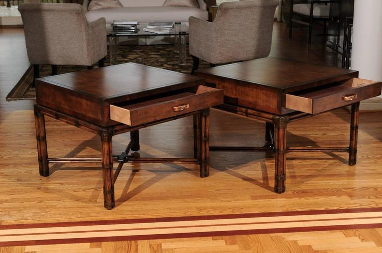 Brown Beautiful Restored Pair Of Large Scale Vintage Campaign End Tables By  Henredon For Sale