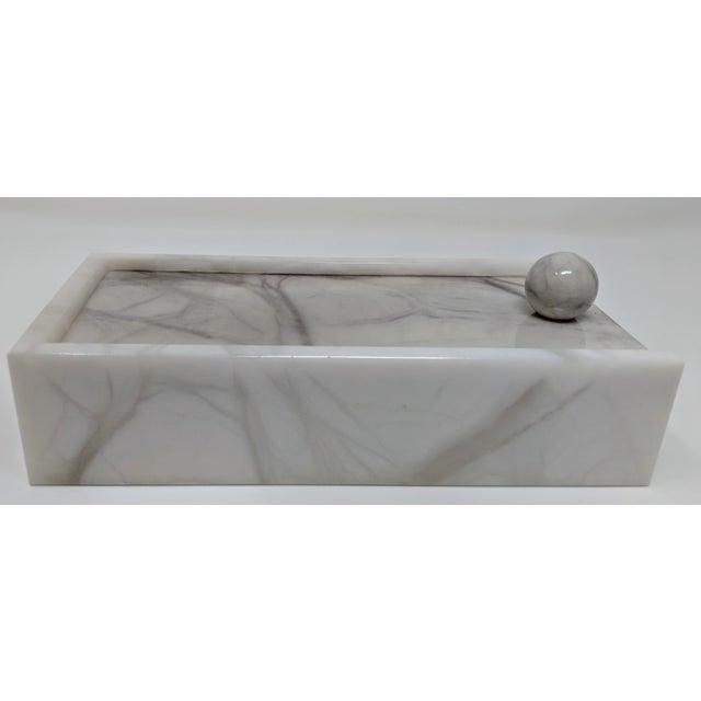 White Hermes Inspired Alabaster Box For Sale - Image 8 of 12
