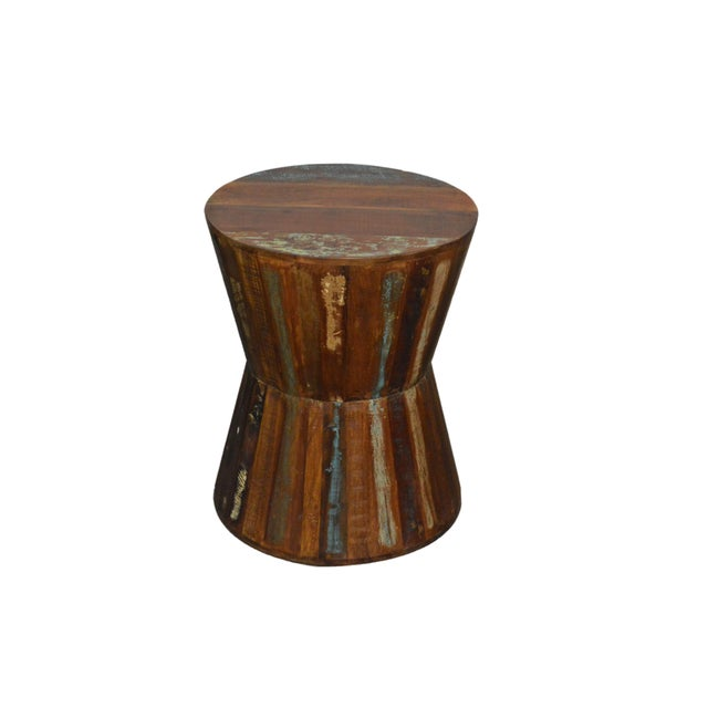 Country Reclaimed Wood Hourglass Stool For Sale - Image 3 of 3