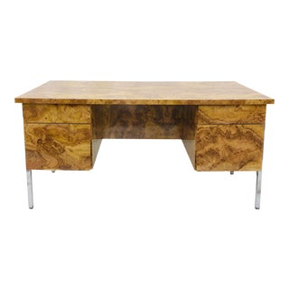 Mid Modern Burl & Chrome Desk For Sale