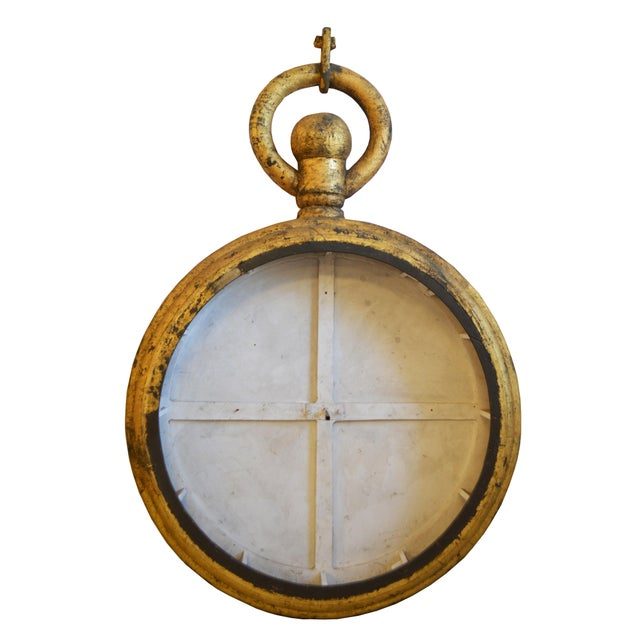 Trade sign from watch maker or repair shop.In form of pocket watch. Constructed using wood, canvas and foam. Circa 1920....