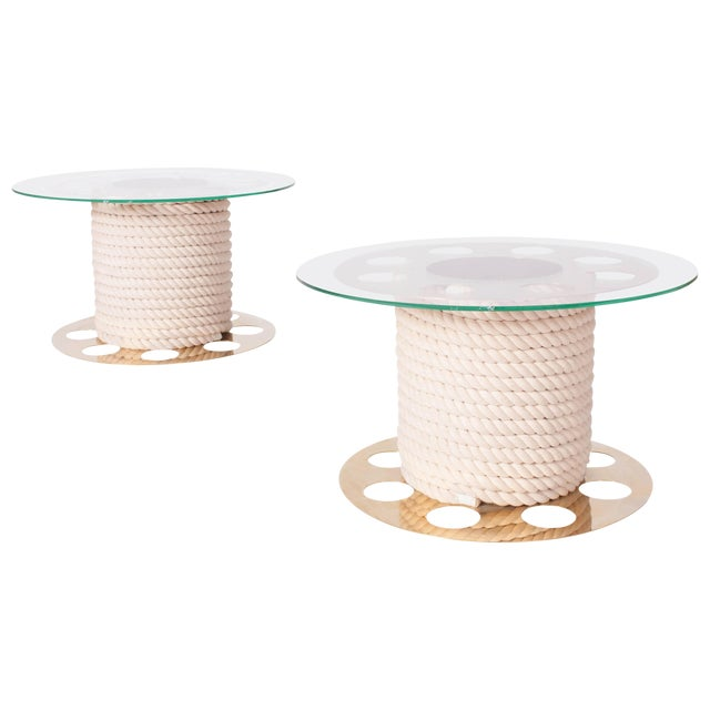 Paco Rabanne Round Brass Side Tables, Pair of Two For Sale