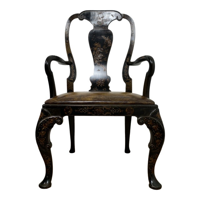Black Japanned Chinoiserie Queen Anne Arm Chair For Sale