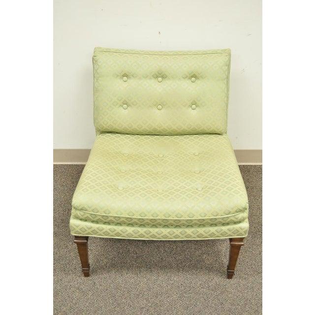 Hollywood Regency Green Upholstered & Wood Slipper Chair - Image 5 of 11