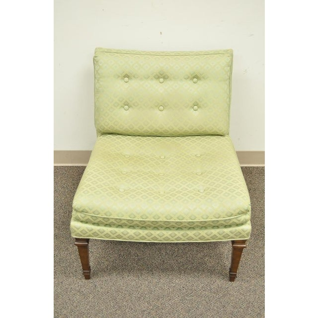 Vintage Hollywood Regency Green Upholstered & Wood Slipper Accent Side Chair For Sale - Image 4 of 10