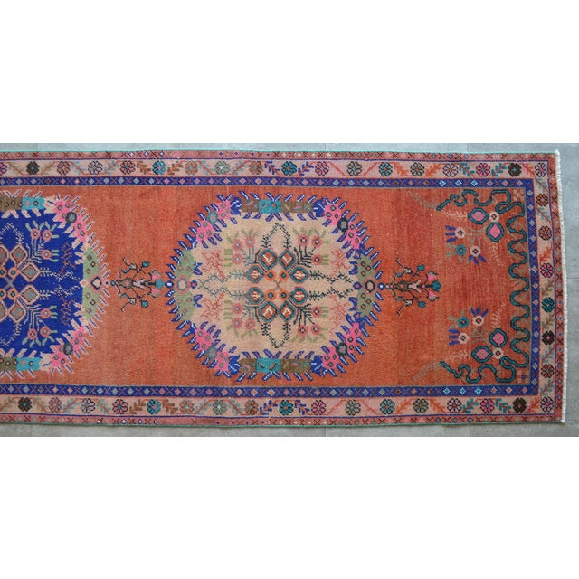 """Blue Oushak Runner Rug Turkish Hand Knotted Distressed Hallway Rug - 3'1"""" X 12'7"""" For Sale - Image 8 of 9"""