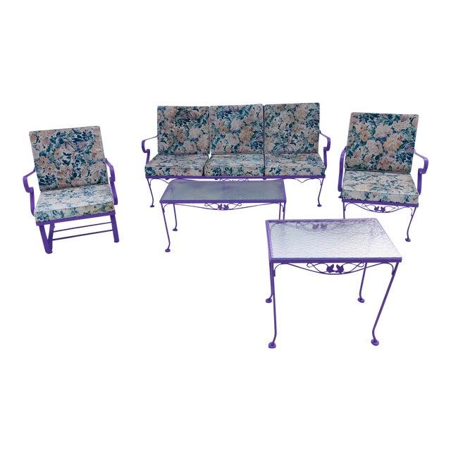 Mid-Century Modern C. 1970s Fresh Violet Paint 5-Piece Outdoor Set For Sale
