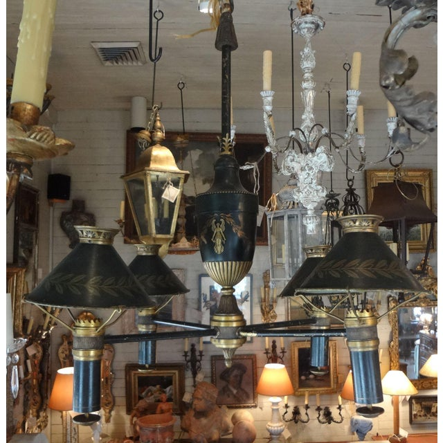 19th Century French Bronze Chandelier With Bonnets For Sale - Image 11 of 11