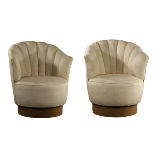 Pair Milo Baughman Swivel Lounge Chairs For Sale
