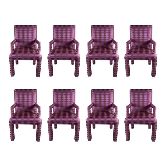 Mid-Century Modernist Eight Dining Chairs in Amethyst and Violet Bergamo Fabric For Sale
