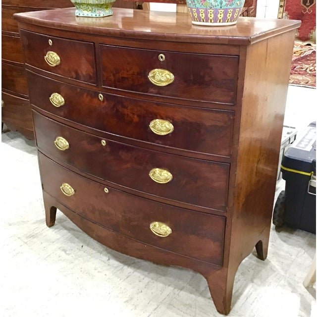 French Georgian Mahogany Bowfront Chest of Drawers For Sale - Image 3 of 9