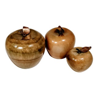 20th Century Figurative Marble Onyx Apples Paperweights - Set of 3 For Sale
