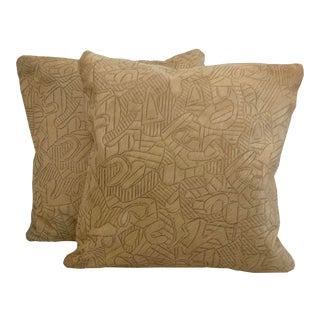 "Etched ""Ferdinand"" Hair on Hide Pillows - a Pair For Sale"
