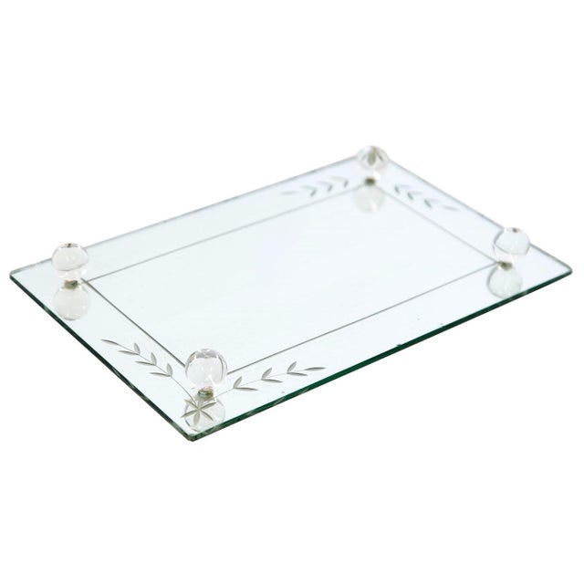 Mid 20th Century Etched Glass Vanity Mirror Tray For Sale - Image 5 of 6