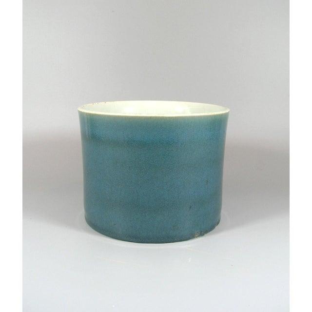 Ceramic Antique Chinese Blue Glaze Brush Pot/Bitong For Sale - Image 7 of 8