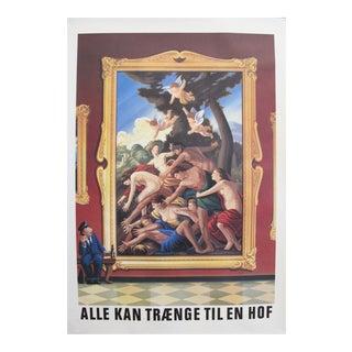 Original 1980's Danish Design Poster, a Night at the Museum