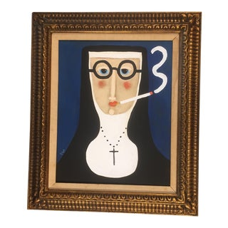 "Contemporary Folk Artist Rose Walton""Smoking Nun"""