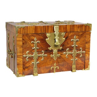 Northern European Kingwood and Brass Mounted Coffre-Fort For Sale