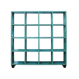 Distressed Bright Blue Display Curio Cabinet Room Divider on Wheels For Sale